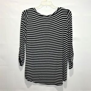 Cable & Gauge Tops - Cable & Gauge Tunic Top Blouse Black White 2X